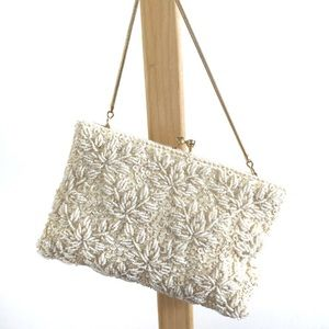 Vintage Embroidered Beads Pearls Clutch Small Bag